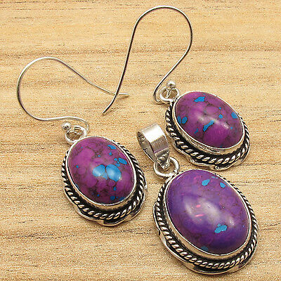 VINTAGE EARRINGS & PENDANT SET, PURPLE COPPER TURQUOISE OVAL, 925 SILVER PLATED