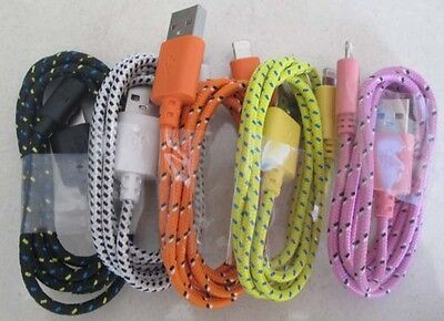 5x 3FT Durable Braided mixed USB Charger Data Sync Cable for iphone 6/5S/5C/5 2A