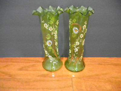 TWO ''HAND BLOWN HAND PAINTED GREEN VASES