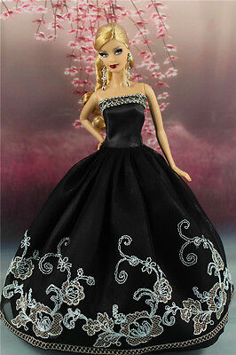 Black Fashion Party Dress/Wedding Clothes/Gown For Barbie Doll S190P7