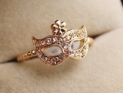 Free shipping! Sz 6 Womens 14K Yellow Gold Plated AAA CZ Mask Shape Ring Y-F593