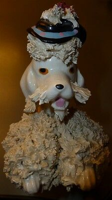 Vintage Mid Century Off White Spaghetti Ware Poodle Figurine with Fancy Hat