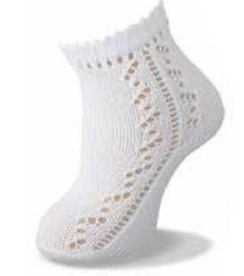 Carlomagno Patterned Ankle sock in White,Ivory & Blue sizes16/17 - 22/23 - 93/55
