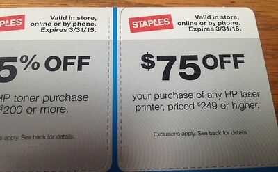Staples Coupons 20% off 15% off $75 off Coupons Exp 3/31/15