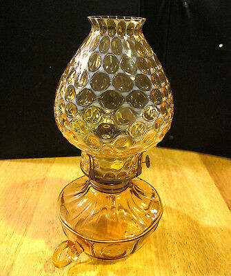 Vintage Fostoria Opalescent Coin Dot Amber Finger Loop Oil Lamp