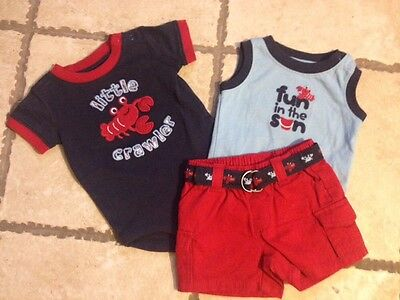 Gymboree Boys set, BEACH CRAWLER, 2 shirts and shorts, lobster, 0-3 Months NWT