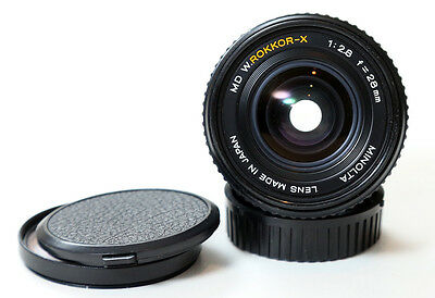Minolta W.Rokkor-X 28mm f/2.8 wide angle lens for mirrorless