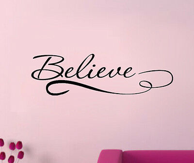 Believe Live Art Letter Character Mural Wall Quote Sticker Decal Inspiration