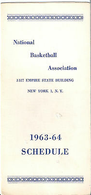 VINTAGE 1963 - 64 NBA BASKETBALL SCHEDULE 3317 EMPIRE STATE BUILDING NEW YORK NY