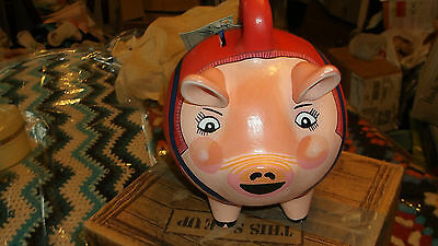 VINTAGE Collectible BISQUE HANDPAINTED PIGGY BANK