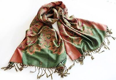 Double Side Green Pink Floral Design Pashmina Women's Scarf Shawl Wrap #92