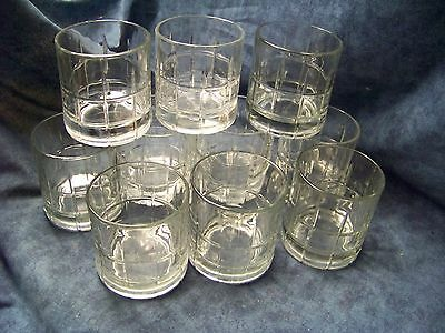 """10 Vintage Anchor Hocking Clear 3-1/2"""" Tall Tartan Old Fashioned Tumbler Glasses"""