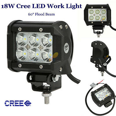 18W CREE 4INCH LED LIGHT BAR 2160LM FLOOD BEAM OFFROAD WORK LAMP CARS 36W TRUCK