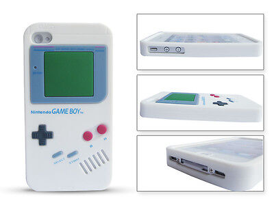 White New Retro Gameboy Silicone + film Skin Case Cover for iPhone4G 4S