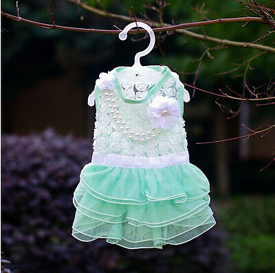 Small Pet Dog Clothes Apparel Necklace Rose Lace Green Dress XXS Chest:25cm/10""