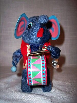 Vintage Tin/Plush Elephant Playing Drum & Cymbals Wind Up Toy