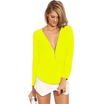 Women Lady Casual V-Neck Chiffon Zip Up Tee Tops Cocktail Party Clubwear Blouses