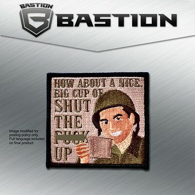 TACTICAL BADGE MORALE VELCRO MILITARY PATCH CUP OF SHUT UP