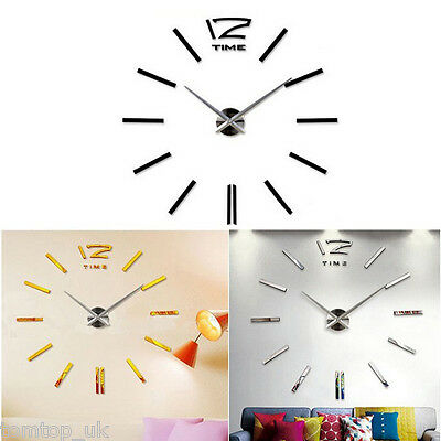 Luxury DIY 3D Home Art Decorations Mirror Frameless Wall Clock Large Hours Gift