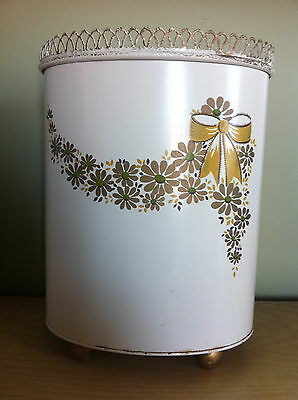 Vintage RANSBURG Footed Metal Trash Can/Waste Basket White w/Gold & Green Shabby
