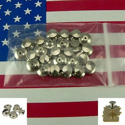 25 Chrome Deluxe Locking Low Profile Pin Backs Clasp for Sports Club School Pins