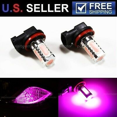 2Pcs Purple Pink H11 High Power 7.5W SMD LED 30000K 12V Fog Driving Light Bulbs