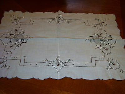 Vintage Embroidered Tray Cloth Table Mat Cut Work Pulled Threads Grey White