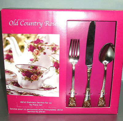 Royal Albert Old Country Roses 65 Piece Stainless Service for 12 NEW
