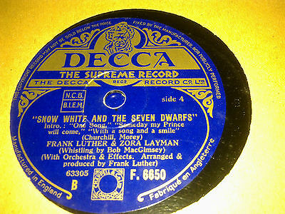 FRANK LUTHER SNOW WHITE AND THE SEVEN DWARFS DECCA F6650