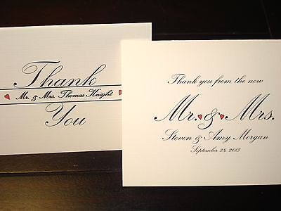 100 Personalized Note Cards, Custom Wedding Bridal Shower Thank You Note Premium