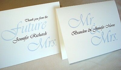 12 Personalized Note Cards Wedding Bridal Shower Thank You Stationery Blank Insi