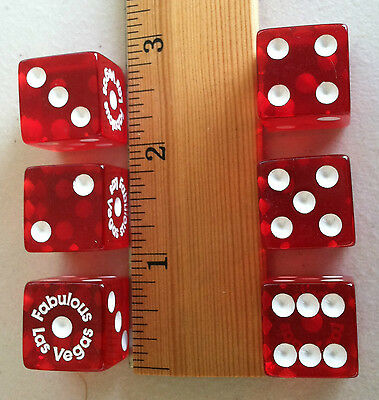 DICE - NEW! FUN! 19mm 'FABULOUS LAS VEGAS' TP RED 6 EA.