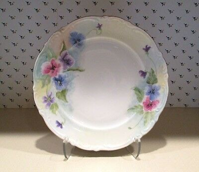 """Antique Vintage Mitterteich Bavaria Prussia Germany """"Pansy"""" Charger Plate signed"""