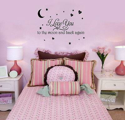 Love You To The Moon And Back Again Wall Quote Decal Removable Art Vinyl Sticker