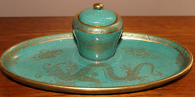 Maling Green Lustre Dragon  Inkwell Pen Tray Retailed by Thomas Goode