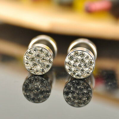 Hot Sell Stainless Steel Rhinestone Crystal Women's Men's Earrings Ear Studs