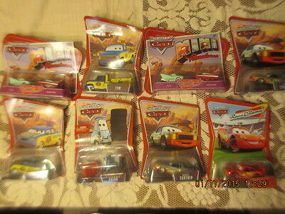 Lot 8 mip DISNEY PIXAR CARS Diecast Lot - MOC Lightning McQueen Darrell Cartrip