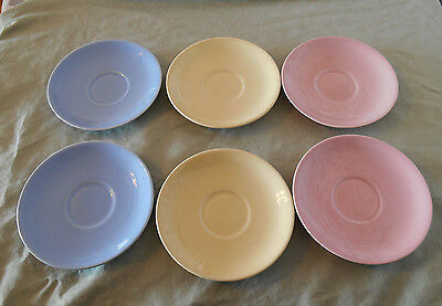 """6 T.S. & T. LuRay Pottery Pastel 6"""" Saucers Blue Yellow Pink Mixed Colors Art"""