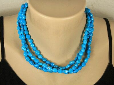 """17"""" Navajo SLEEPING BEAUTY TURQUOISE 3 Strand Choker Necklace Sterling Clasp"""