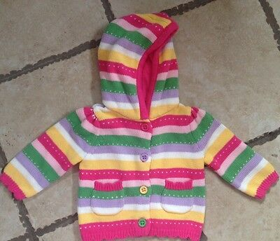 Gymboree girl, brand new kitty, multi color button up hoodie sweater, 3-6 mt NWT