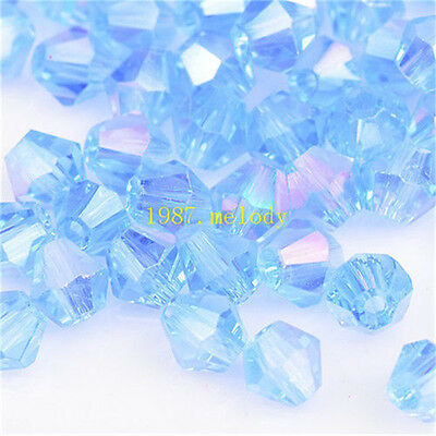 100pcs light blue ab exquisite Glass Crystal 4mm #5301 Bicone Beads loose beads