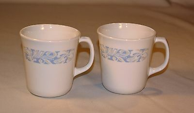 "2 Corning Coffee Cups / Mugs, ""Sea and Sand"" Pattern, Blue and White"