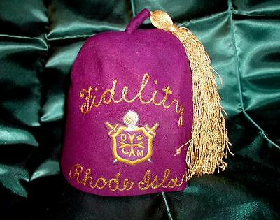HISTORIC Old Masonic DEMOLAY KNIGHTS Crest CLASSIC FEZ Rare HISTORIC Purple GOLD