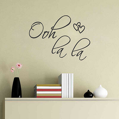 Oh la la Heart Flying Word Art Vinyl Decal Wall quote Inspiration Window Sticker