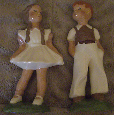 California Pottery Jessie Grimes Artist Signed 1940's Boy and Girl Figurines