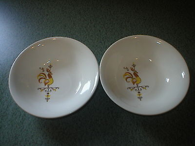 KNOWLES WEATHERVANE ROOSTER Set of 2 Berry Bowls Vintage Ceramic Chicken