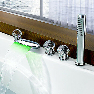 Color Changing LED Waterfall Chrome Bath Tub Faucet Widespread With Shower Head