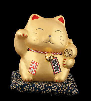 Tirelire Chat Japonais Dore Maneki Neko en Ceramique Made In Japan  308-MIL7