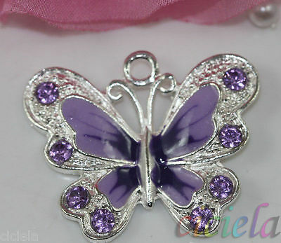 5Pcs New Silver Plated Purple Enamel Rhinestone Crystal Butterfly Charms Pendant