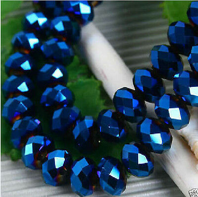~@6mm Blue Faceted Glass Crystal Beads 100pc free shipping